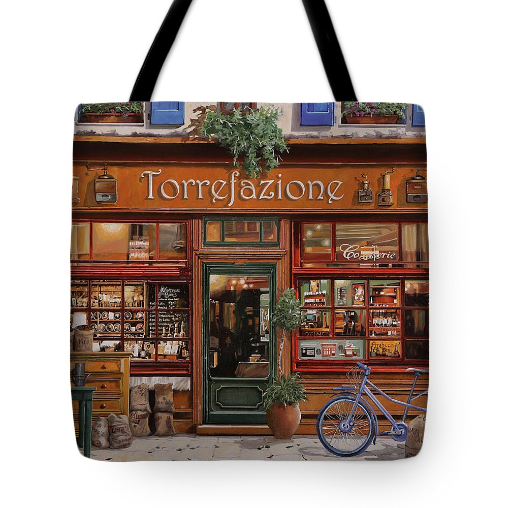 Front Store Tote Bag featuring the painting La Torrefazione by Guido Borelli
