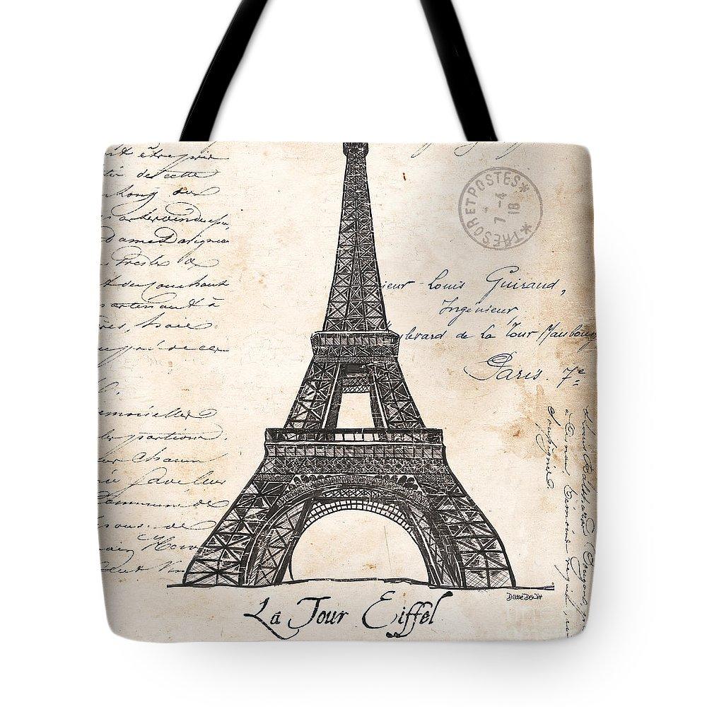 Eiffel Tower Tote Bag featuring the painting La Tour Eiffel by Debbie DeWitt