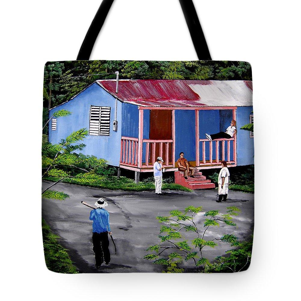 Campo Tote Bag featuring the painting La Vida En Las Montanas De Moca by Luis F Rodriguez