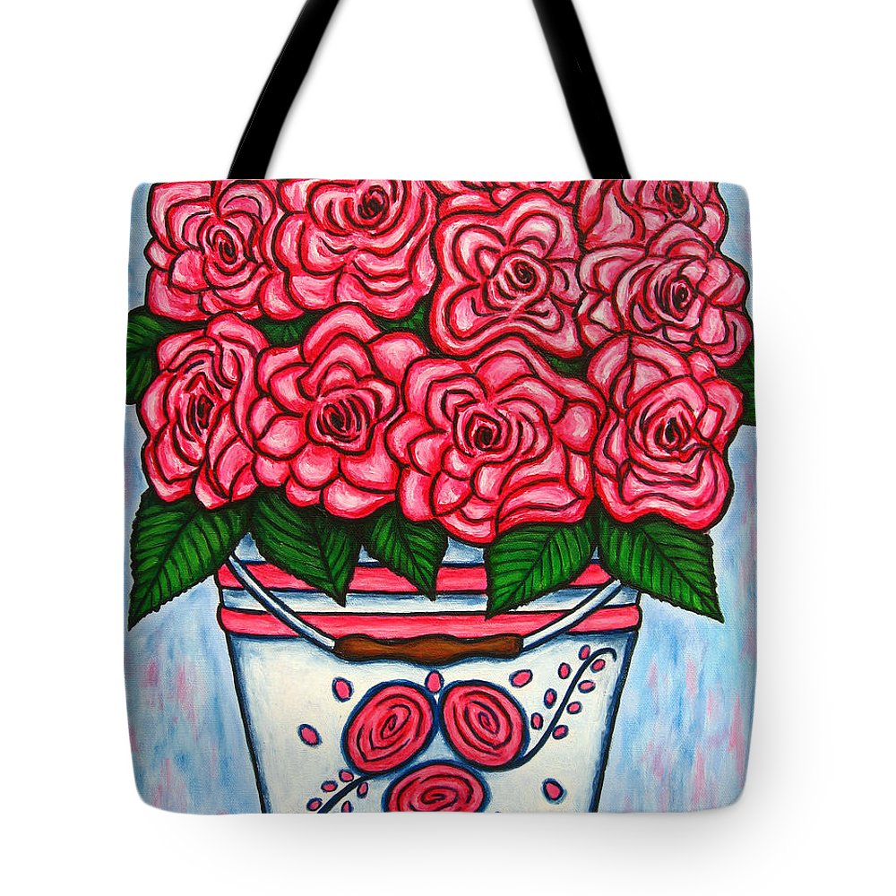 Rose Tote Bag featuring the painting La Vie En Rose by Lisa Lorenz