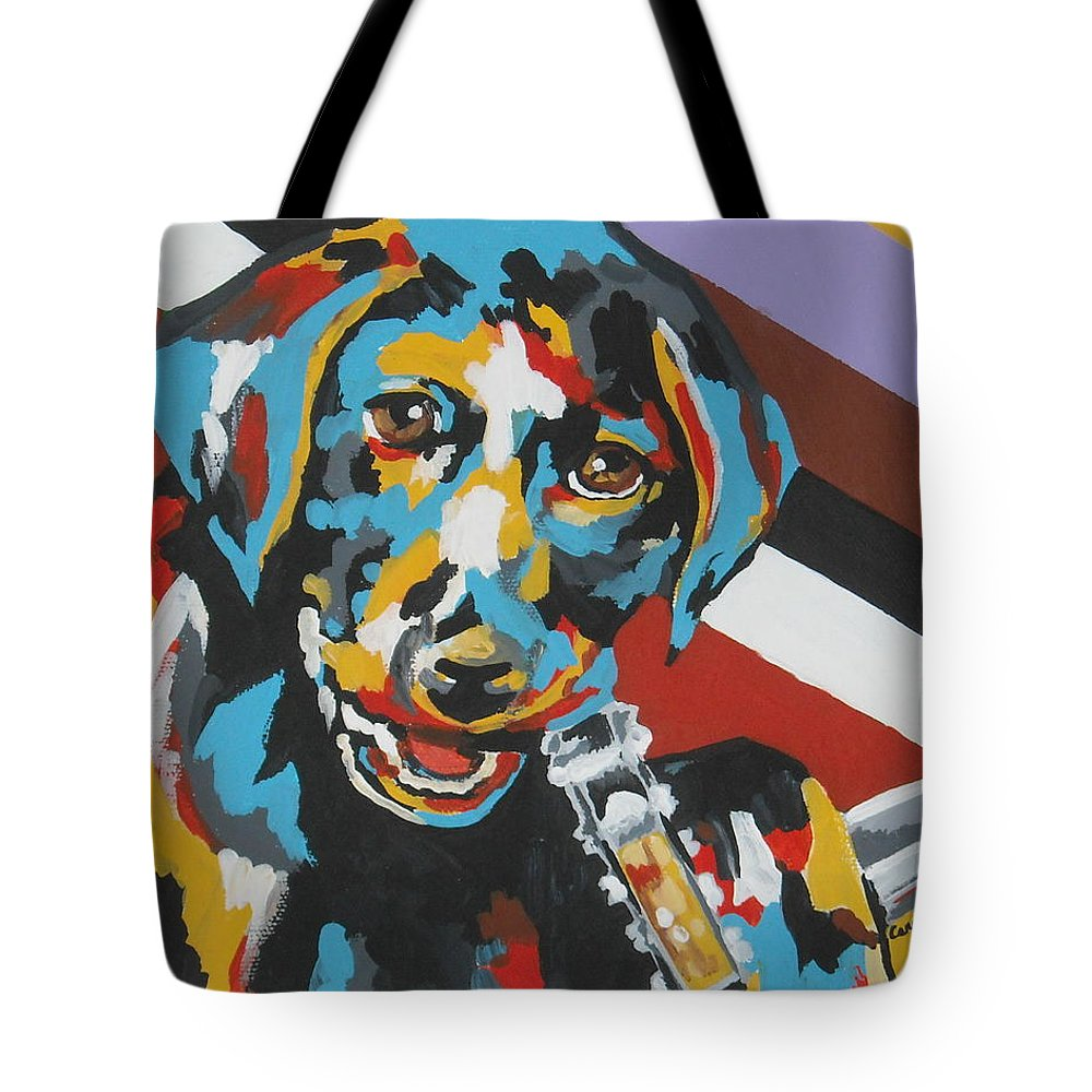 Puppy Tote Bag featuring the painting Labrador Puppy by Caroline Davis