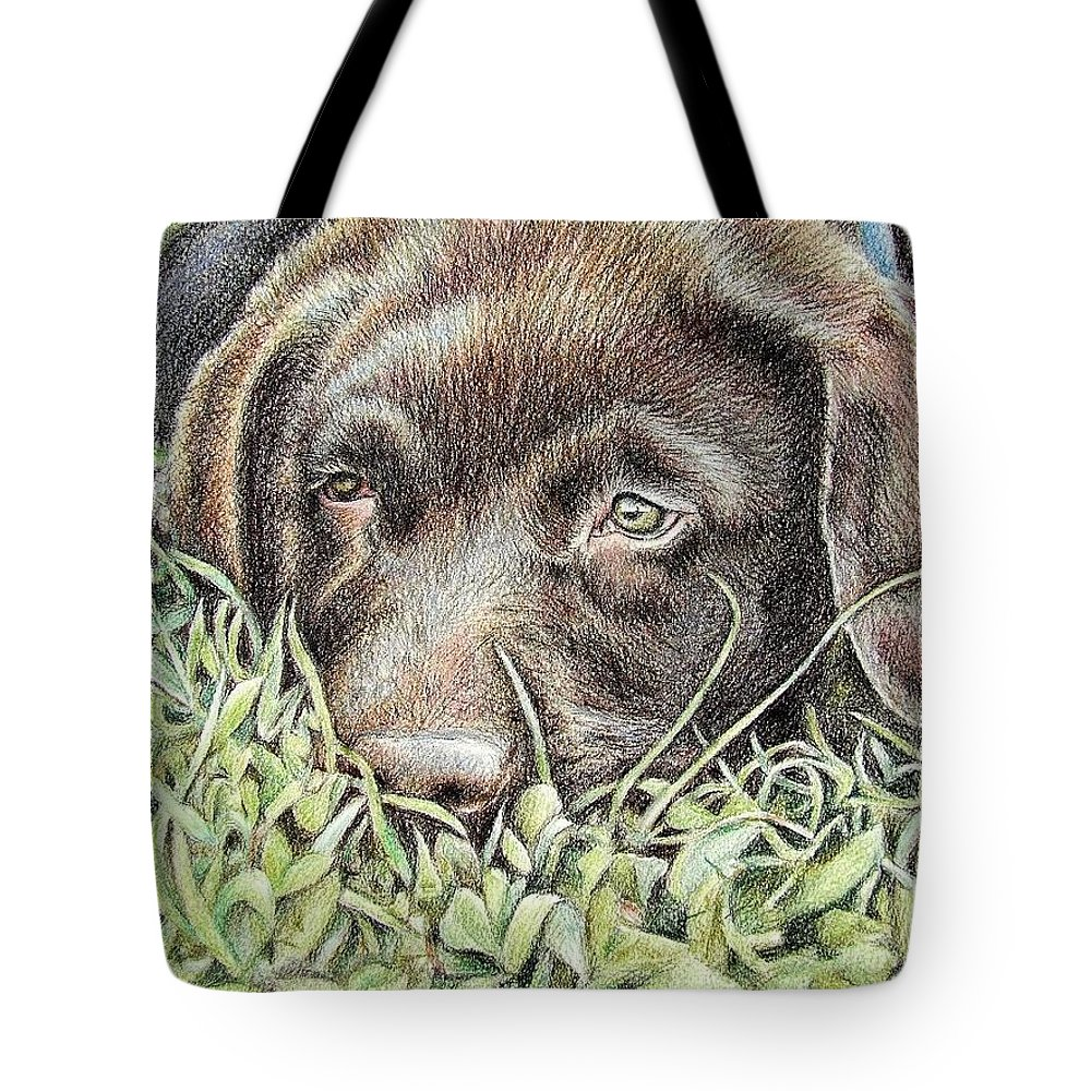 Dog Tote Bag featuring the pastel Labrador Puppy by Nicole Zeug