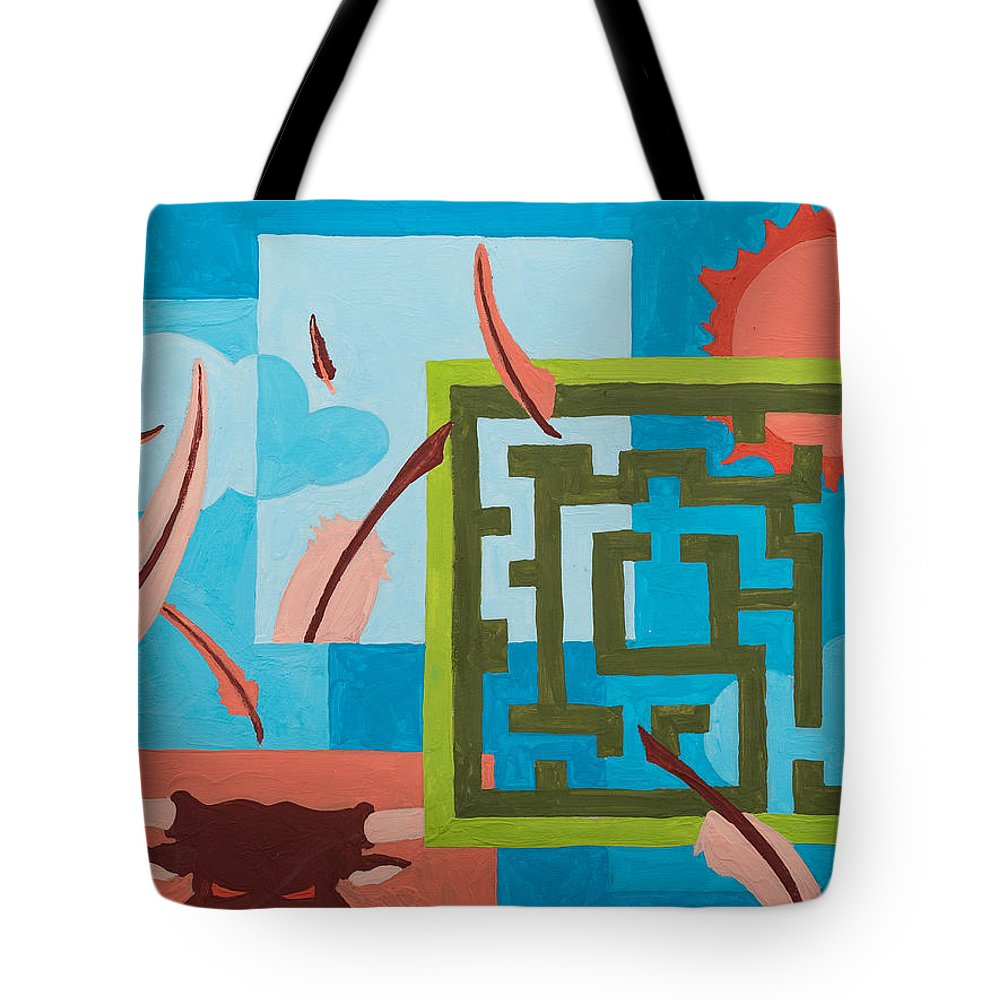 Maze Tote Bag featuring the painting Labyrinth Day by Break The Silhouette