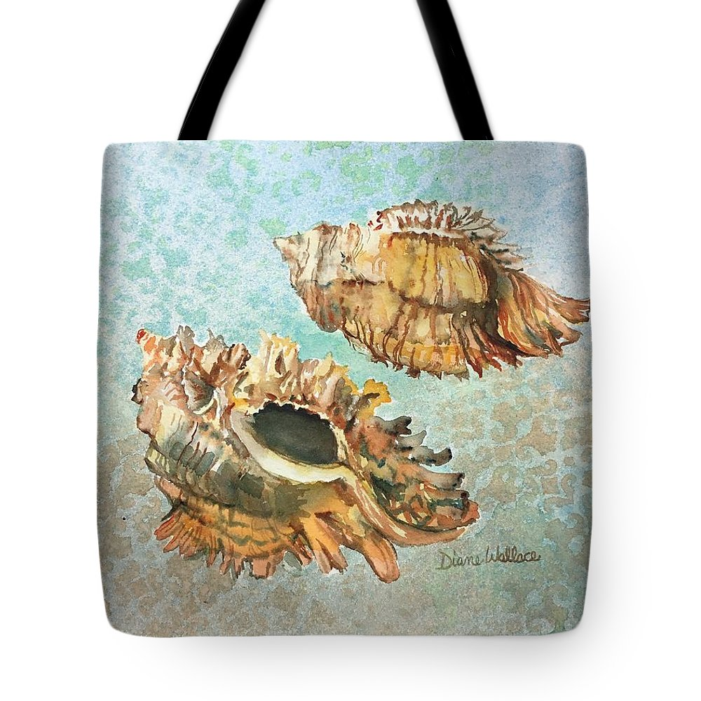 Shell Tote Bag featuring the painting Lace Murex by Diane Wallace