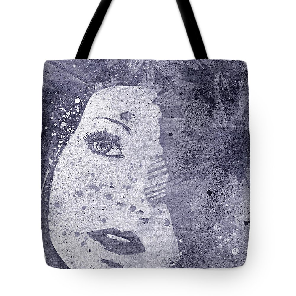 Flowers Tote Bag featuring the painting Lack Of Interest - Silver by Marco Paludet