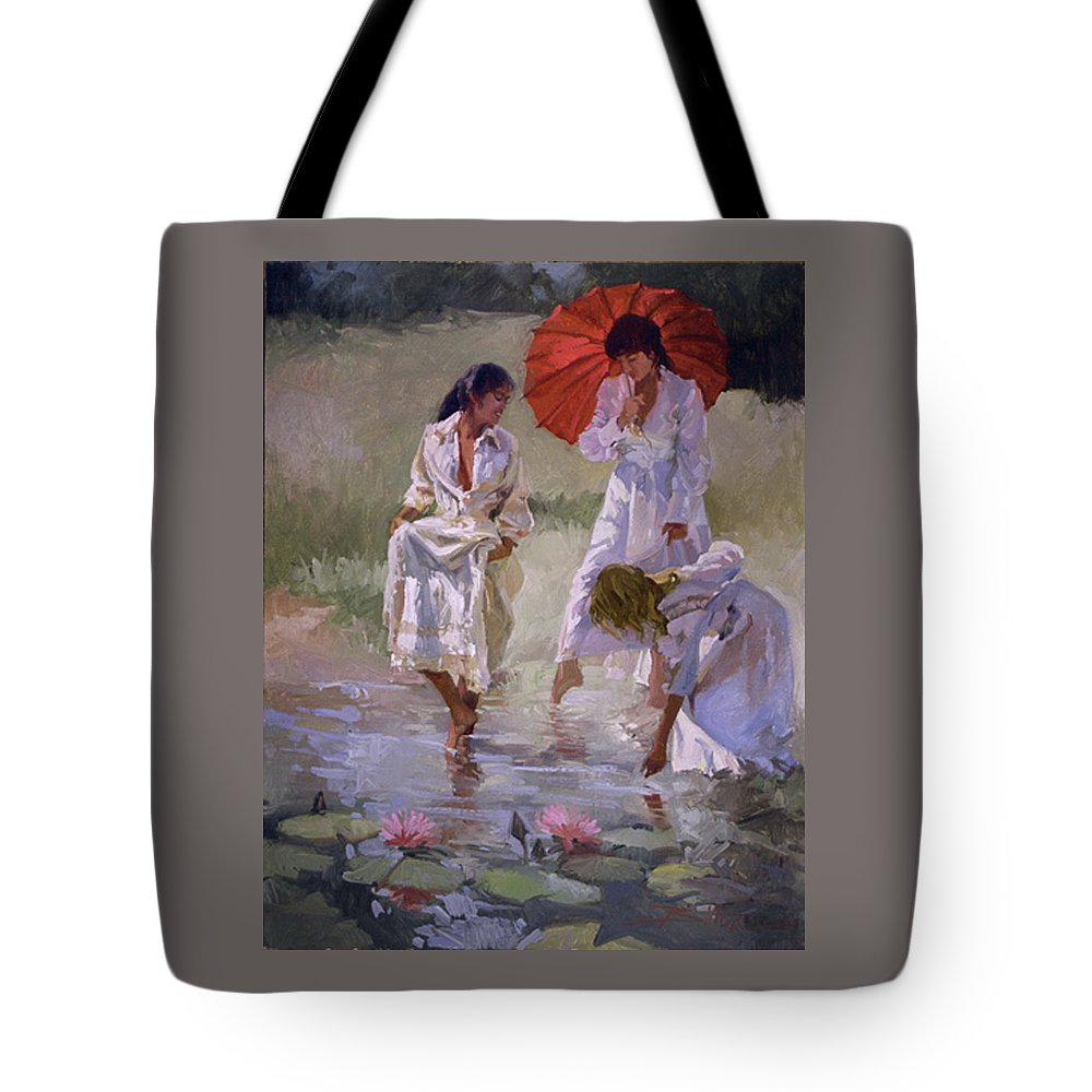 Figurative Tote Bag featuring the painting Ladies And Lilies by Betty Jean Billups
