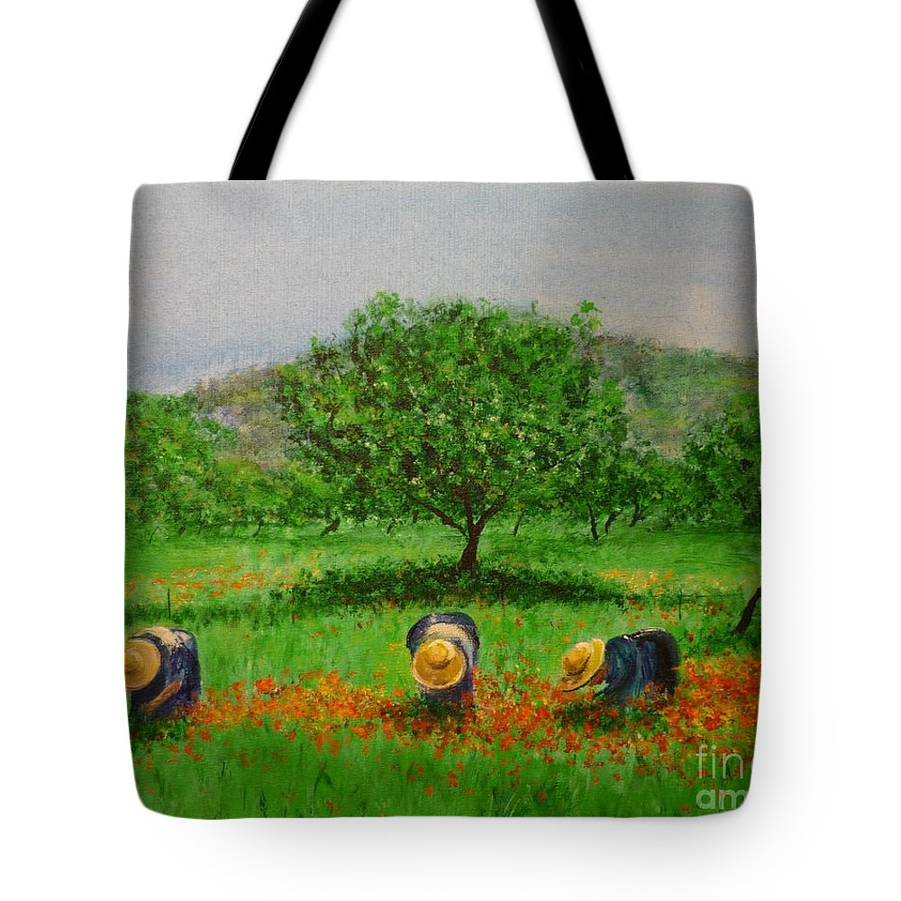 Club Diario De Ibiza Tote Bag featuring the painting Ladies In Poppy Fields Ibiza by Lizzy Forrester