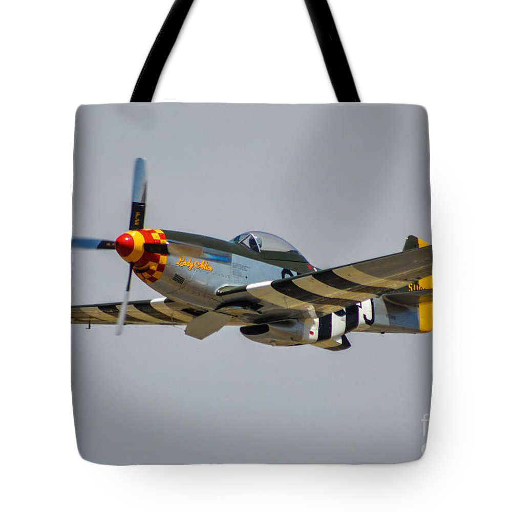 North American P-51d Mustang Tote Bag featuring the photograph Lady Alice 4 by Tommy Anderson