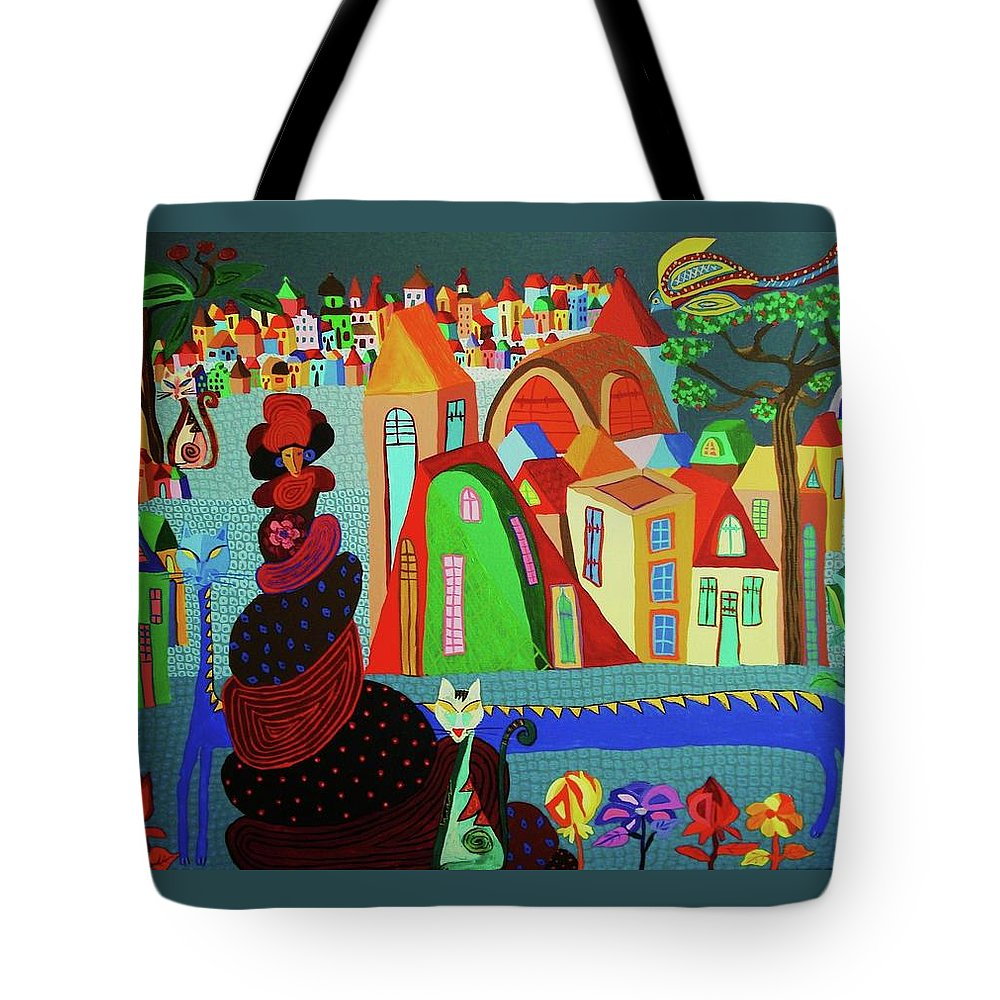Lady Tote Bag featuring the painting Lady And Her Cat by Mimi Revencu
