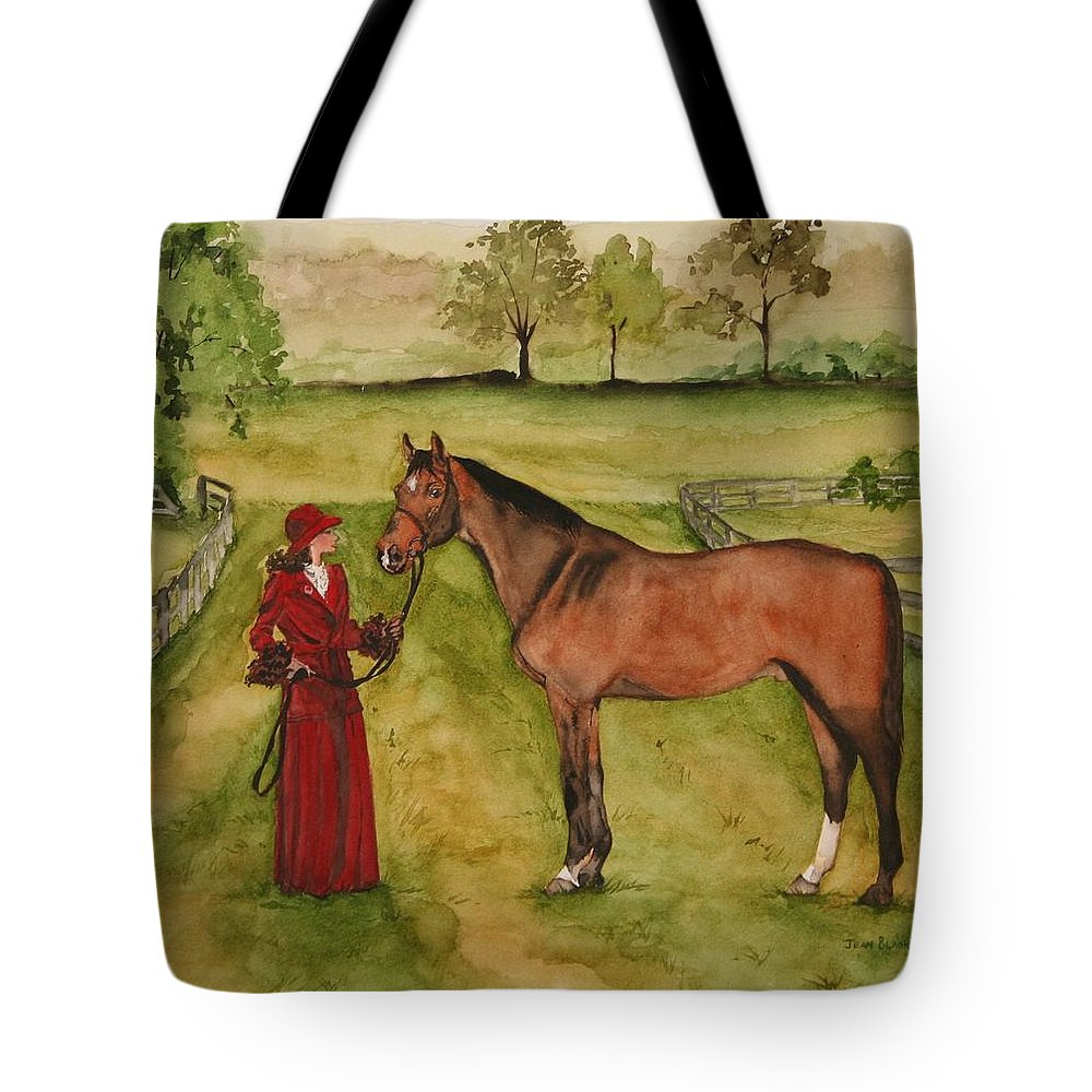 Horse Tote Bag featuring the painting Lady And Horse by Jean Blackmer