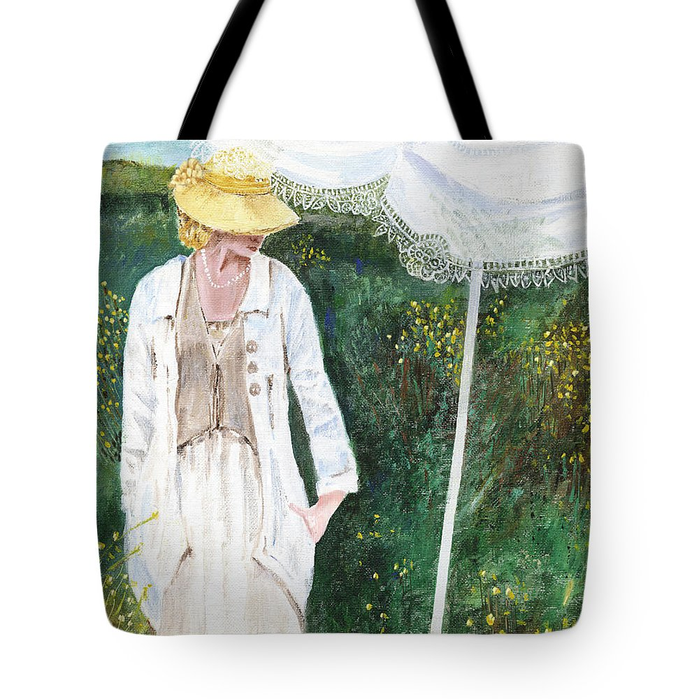 Lady Tote Bag featuring the painting Lady And The Umbrella by Arline Wagner