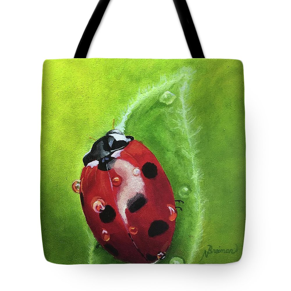 Lady Bug Tote Bag featuring the painting Lady Bug II by Nancy Breiman