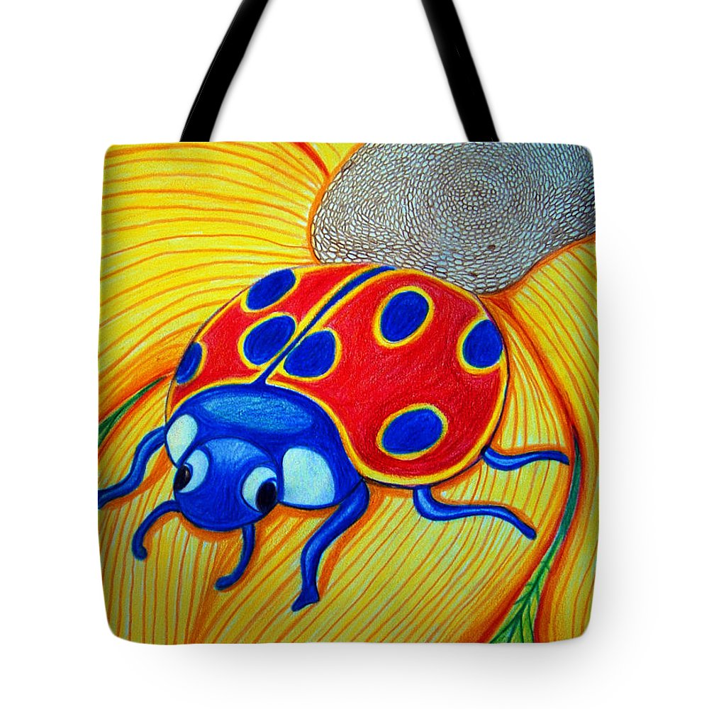 Lady Bug Tote Bag featuring the drawing Lady Bug by Nick Gustafson
