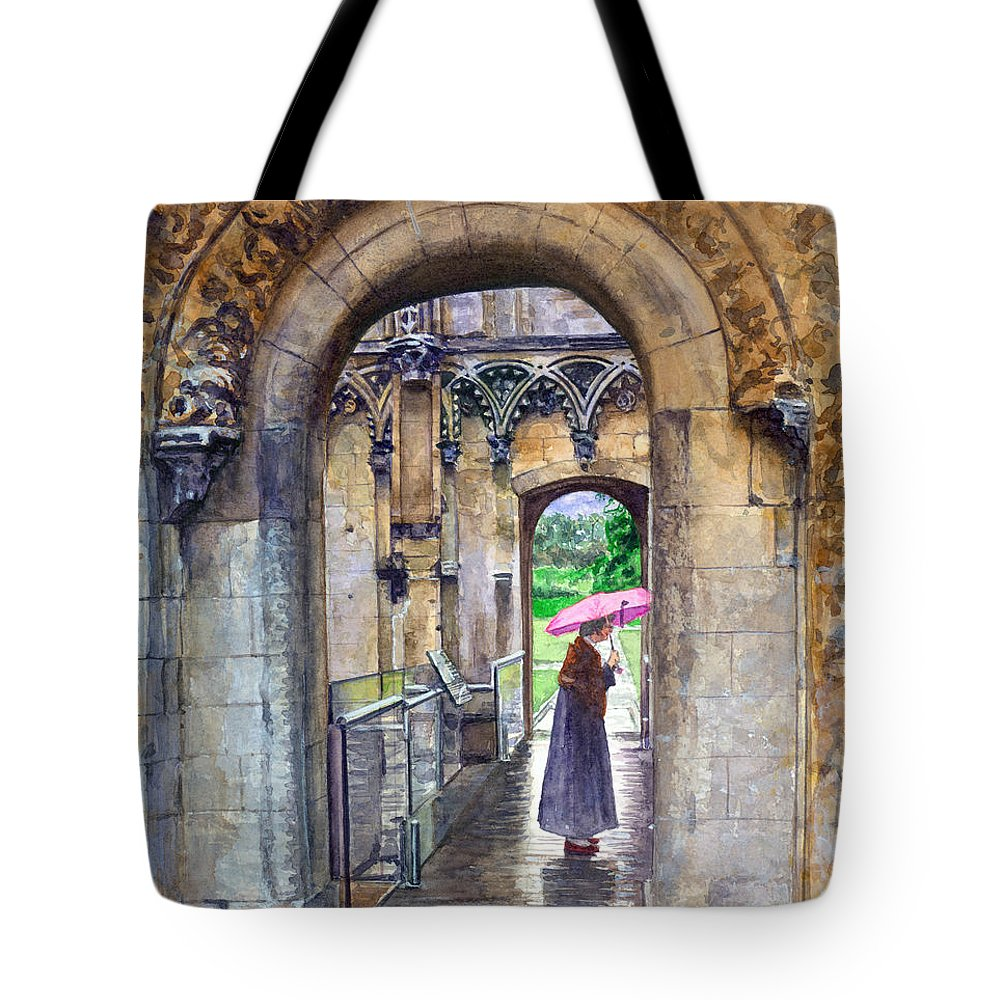 Glastonbury Tote Bag featuring the painting Lady Chapel by John D Benson