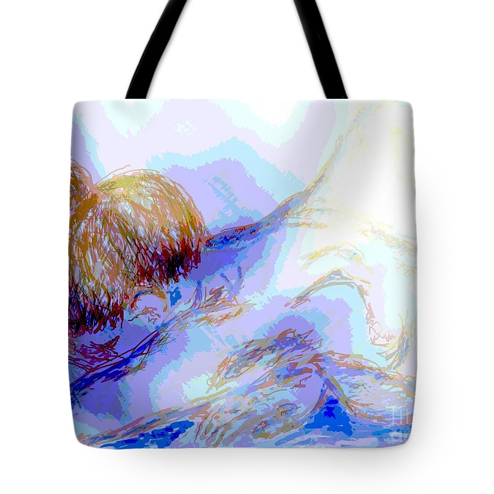 Lady Tote Bag featuring the digital art Lady Crying by Shelley Jones