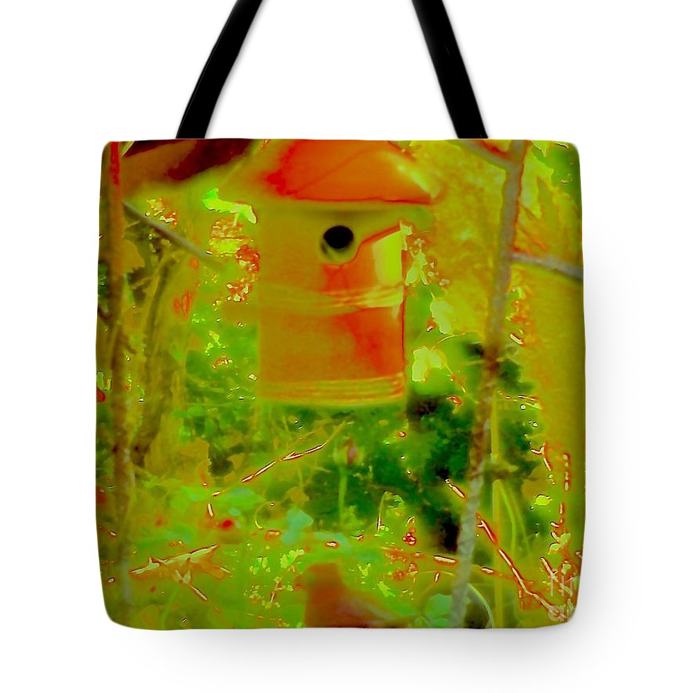 Color Tote Bag featuring the photograph Lady Dog Birdhouse by Kasha Baxter