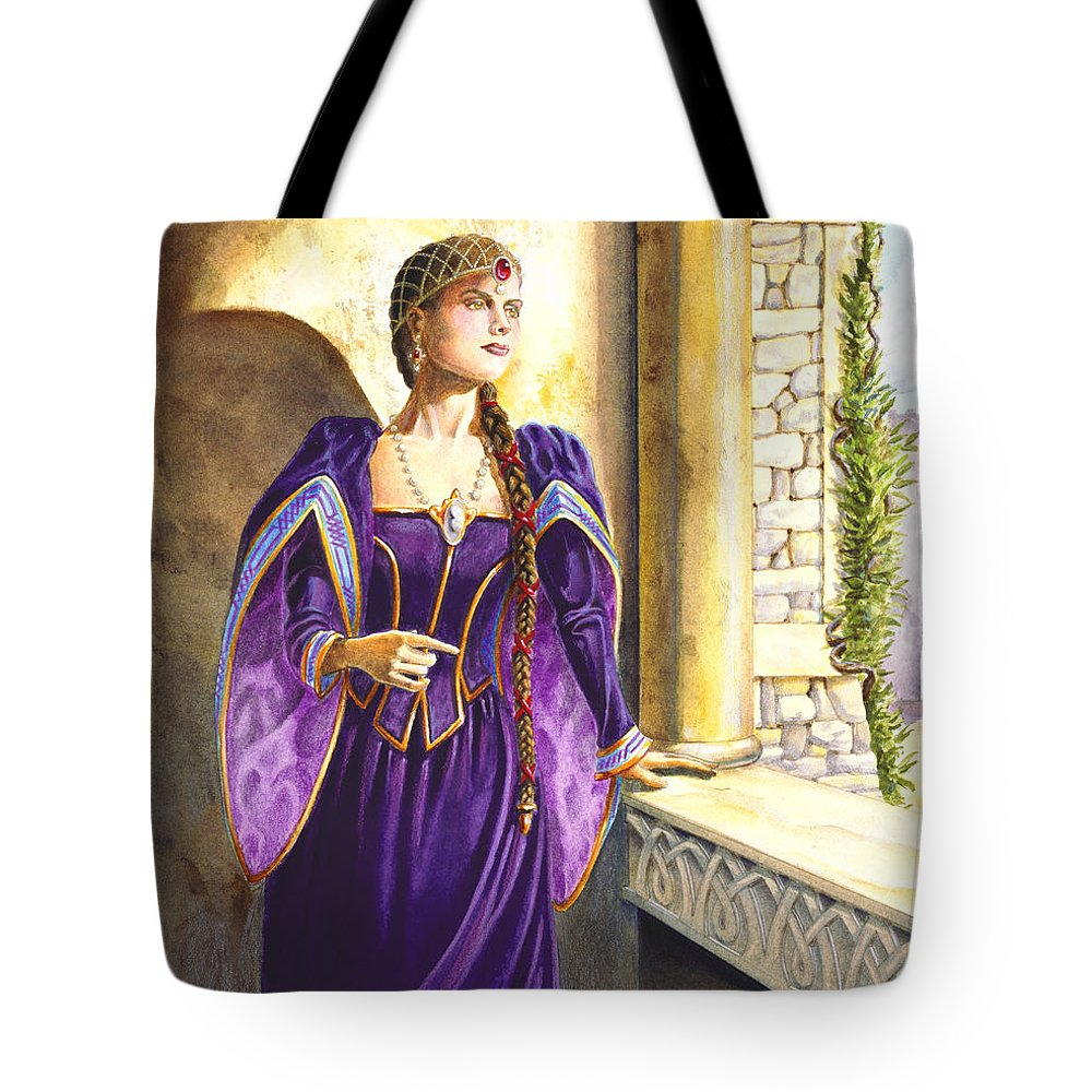 Camelot Tote Bag featuring the painting Lady Ettard by Melissa A Benson