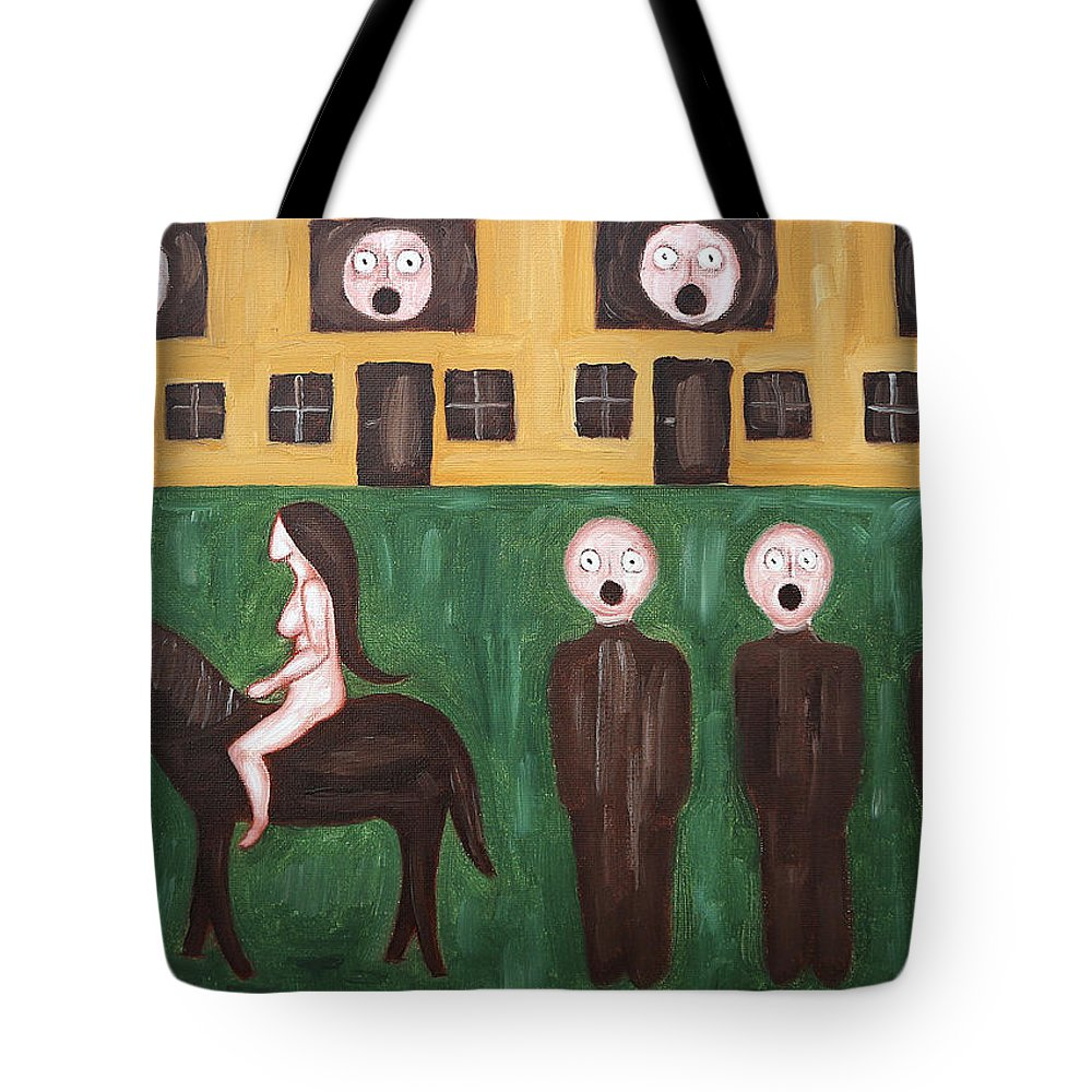 Conceptual Tote Bag featuring the painting Lady Godiva by Patrick J Murphy