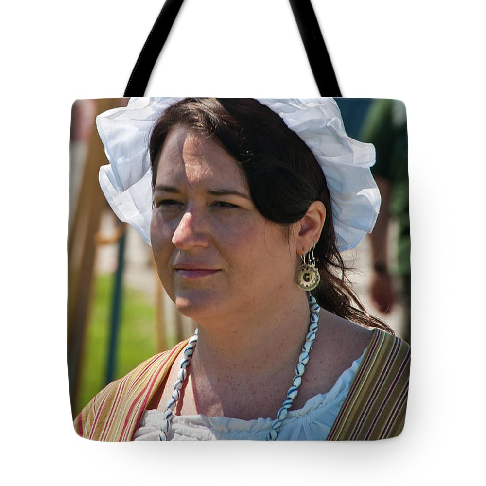 French & Indian War Re-enactor Tote Bag featuring the photograph Lady II 6691 by Guy Whiteley
