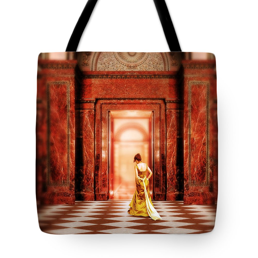 Woman Tote Bag featuring the photograph Lady In Golden Gown Walking Through Doorway by Jill Battaglia