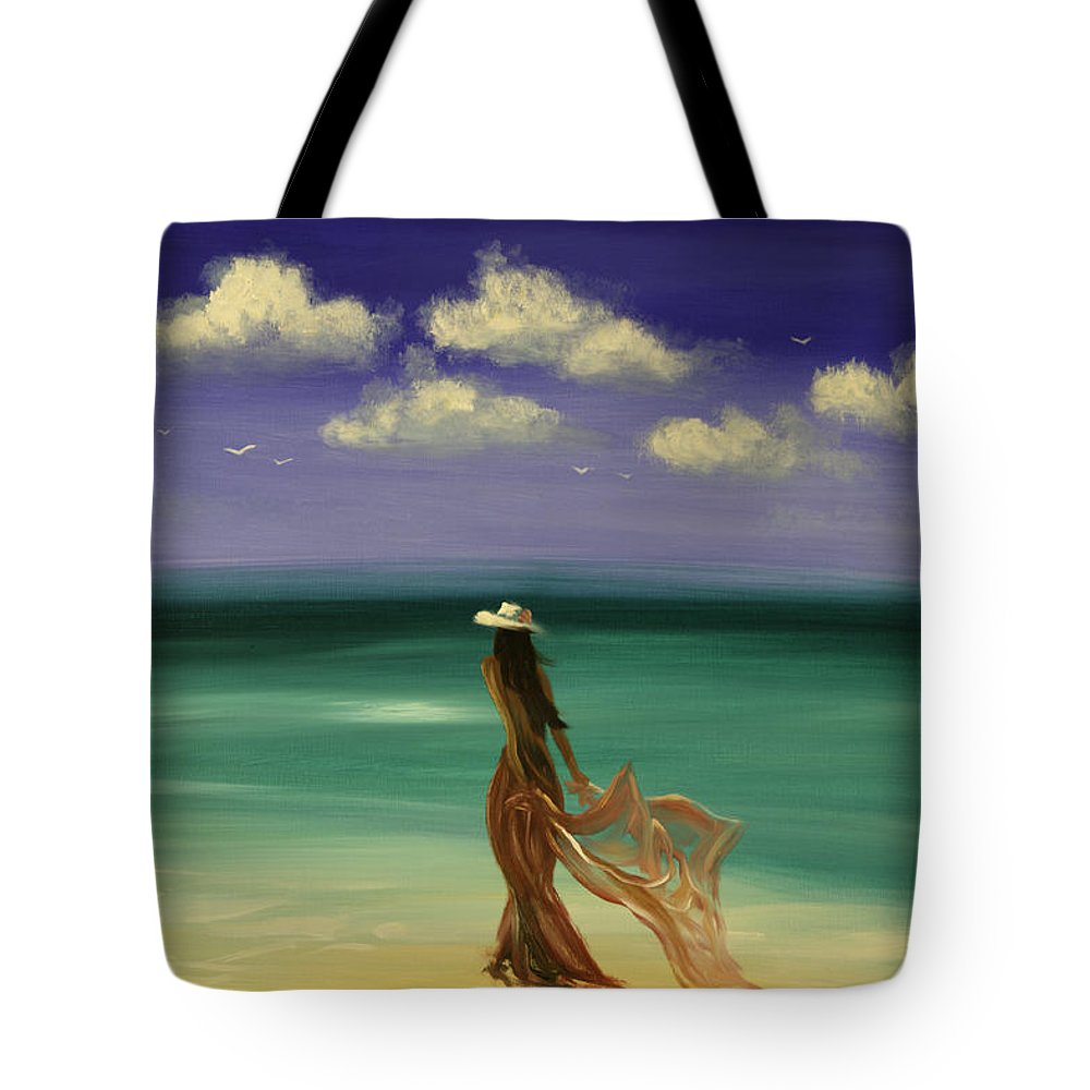 Nice Tote Bag featuring the painting Lady In Red by Gina De Gorna