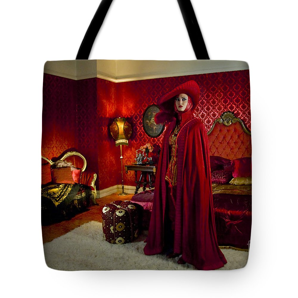 Craig Owens Tote Bag featuring the photograph Lady In Red by Sad Hill - Bizarre Los Angeles Archive