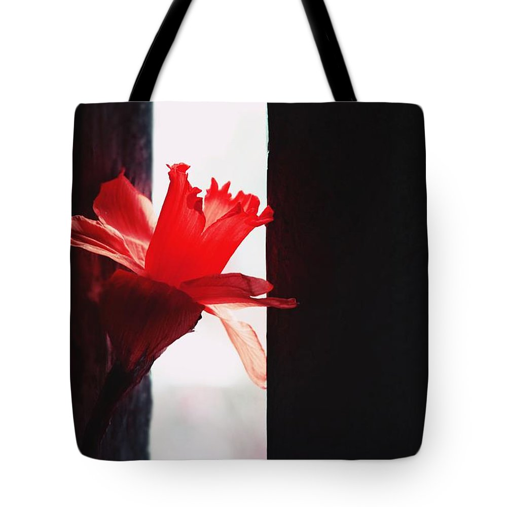 Flower Tote Bag featuring the photograph Lady In Red by Sandra Tokarska