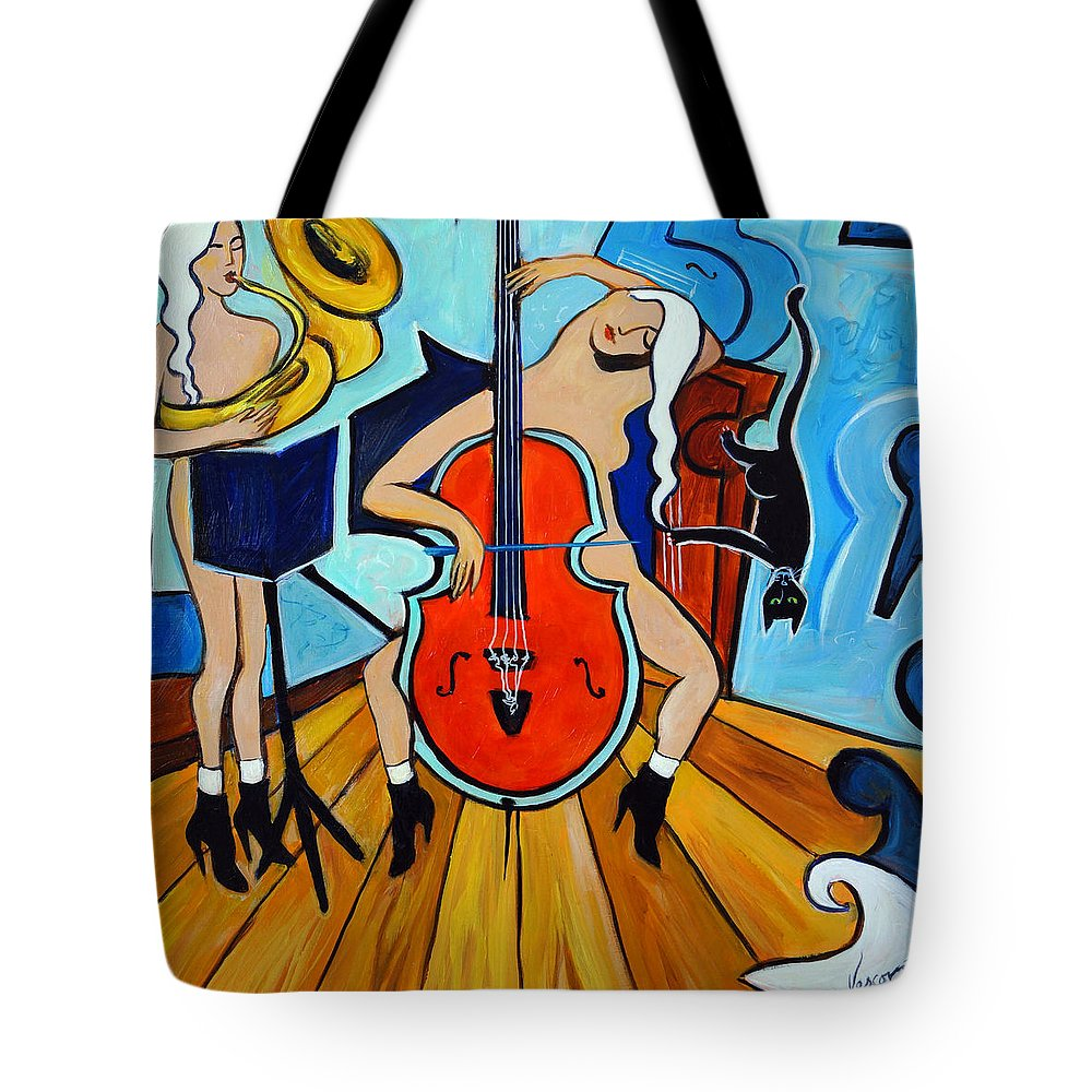 Musicians Tote Bag featuring the painting Lady in Red by Valerie Vescovi