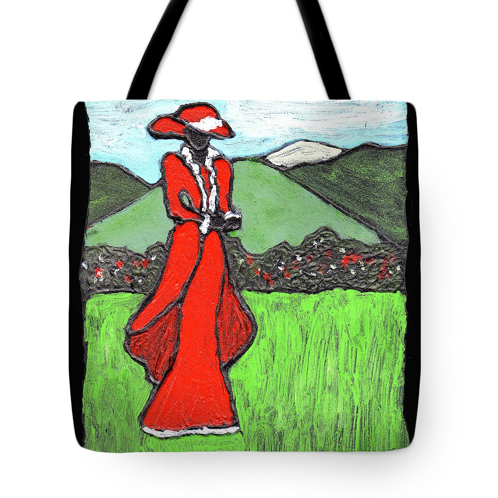 Red Tote Bag featuring the painting Lady In Red by Wayne Potrafka