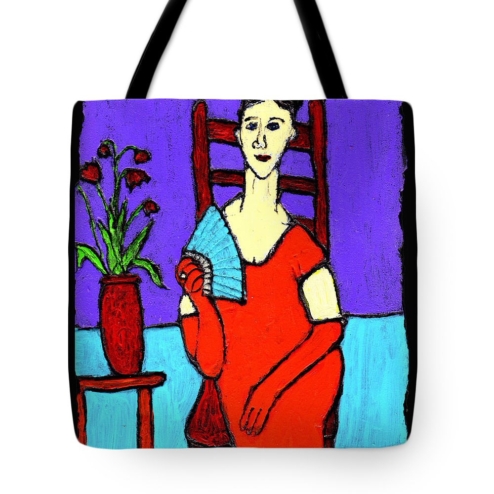 Lady Tote Bag featuring the painting Lady In Red With Fan by Wayne Potrafka