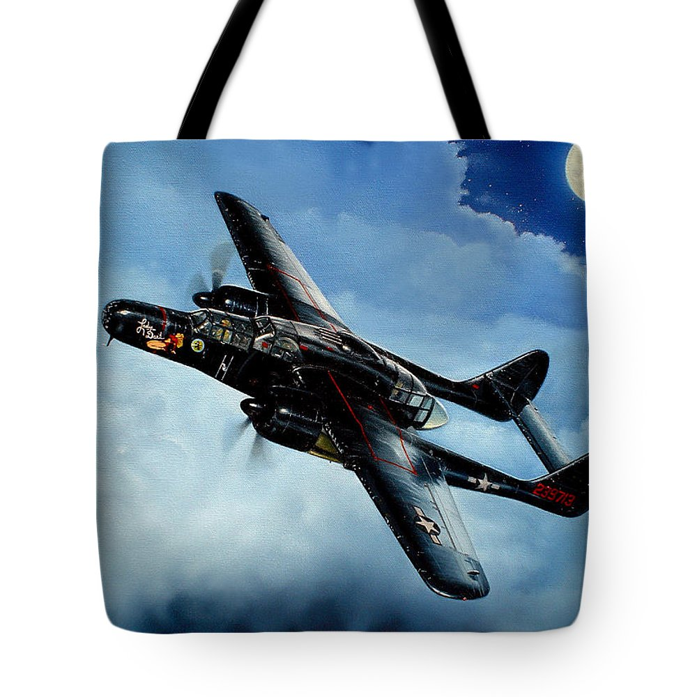 Military Tote Bag featuring the painting Lady In The Dark by Marc Stewart