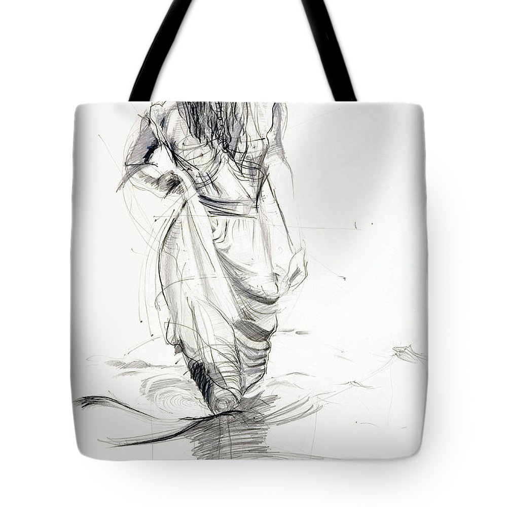 Woman Tote Bag featuring the drawing Lady In The Waters by Kerryn Madsen-Pietsch