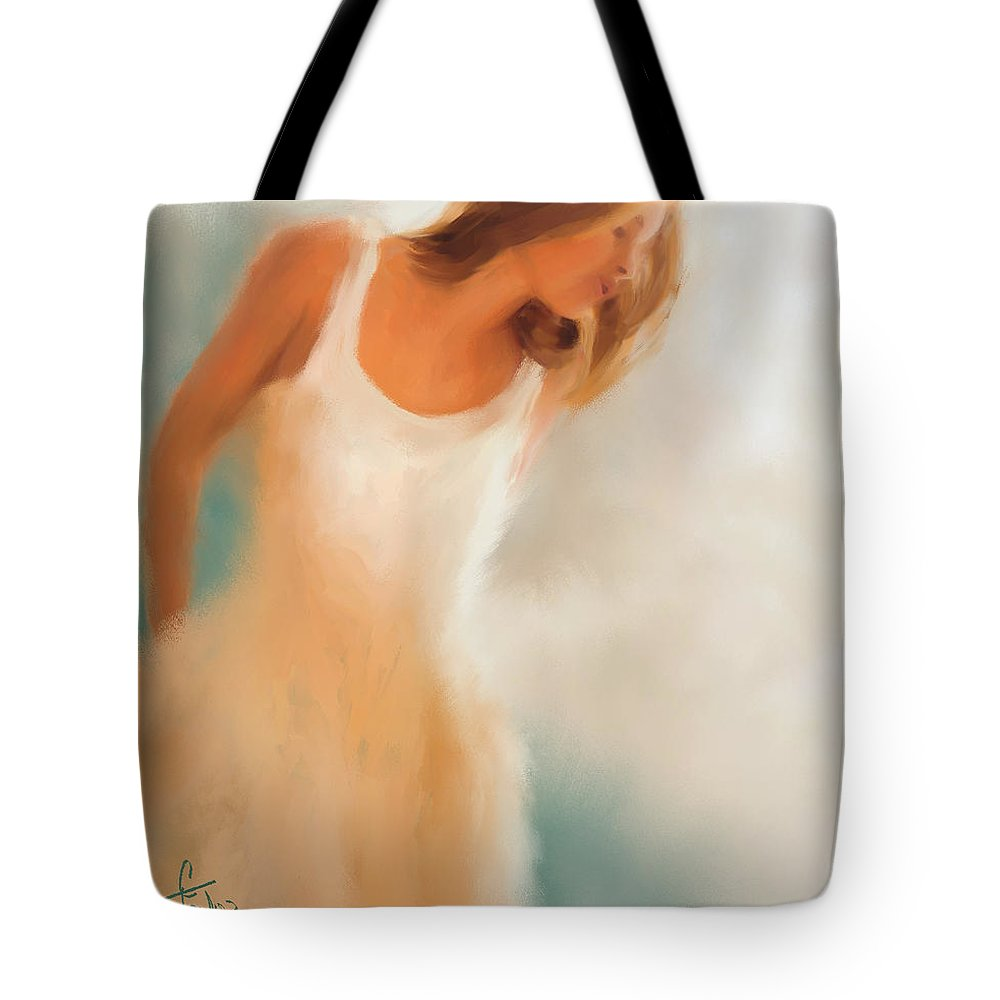 Woman Tote Bag featuring the painting Lady In White by Colleen Taylor