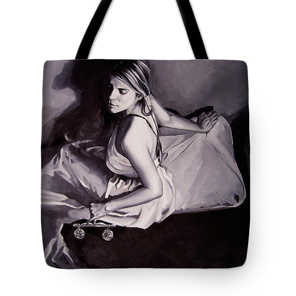 Law Art Tote Bag featuring the painting Lady Justice black and white by Laura Pierre-Louis
