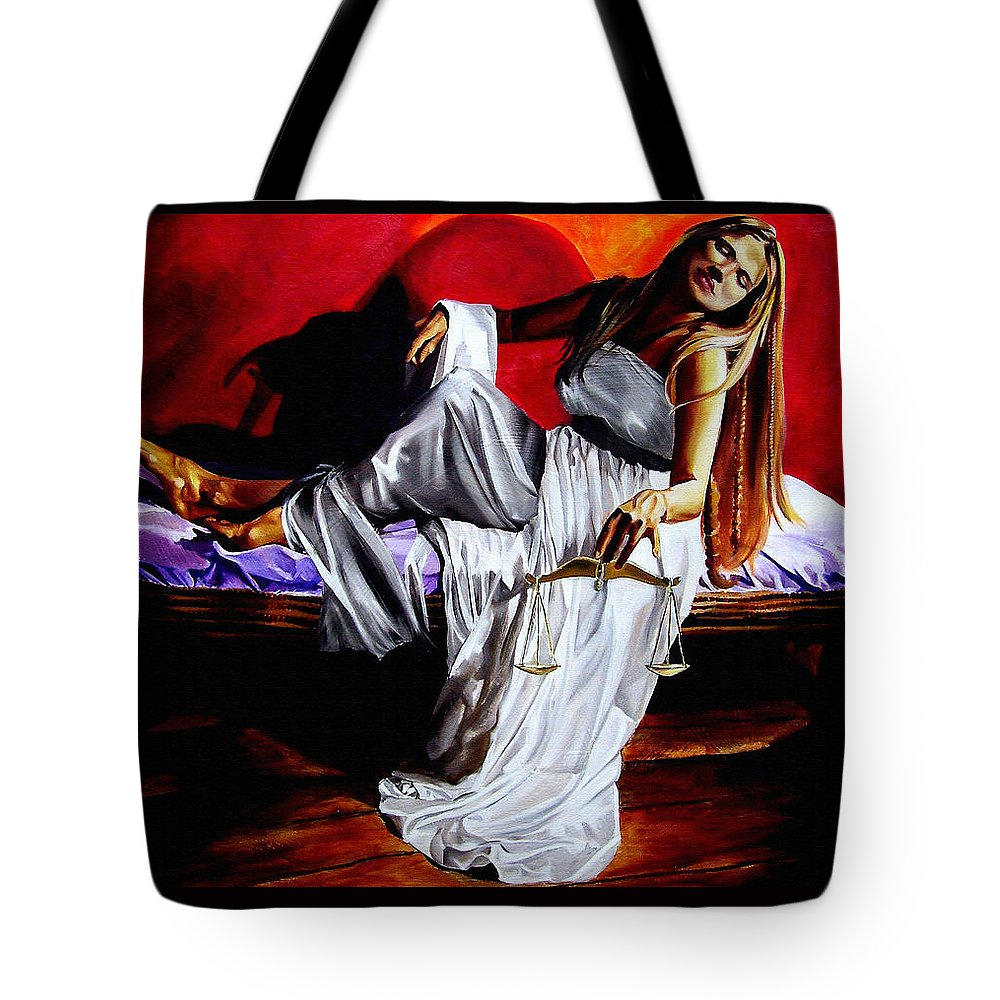 Law Art Tote Bag featuring the painting Lady Justice by Laura Pierre-Louis