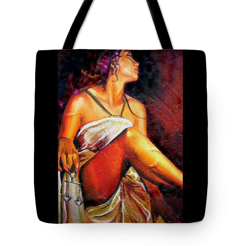 Law Art Tote Bag featuring the painting Lady Justice Mini by Laura Pierre-Louis