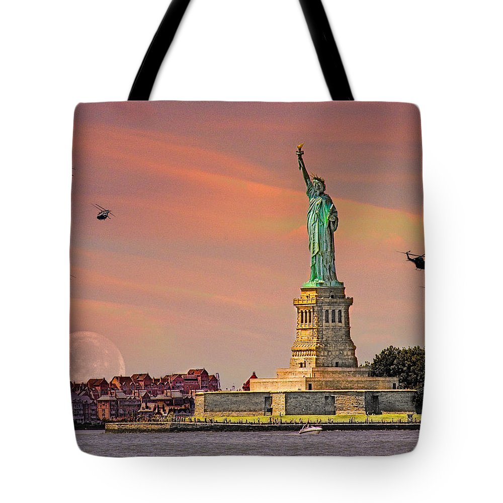Moon Tote Bag featuring the photograph Lady Liberty by Chris Lord