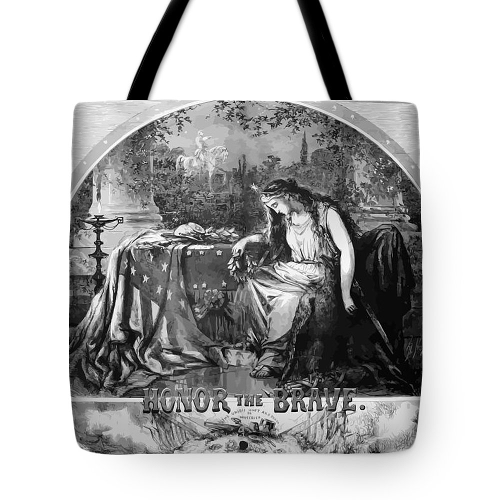 Civil War Tote Bag featuring the painting Lady Liberty Mourns During The Civil War by War Is Hell Store