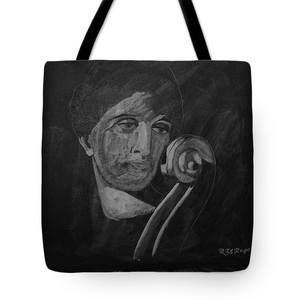 Cello Tote Bag featuring the painting Lady Look At Cello Scroll by Richard Le Page