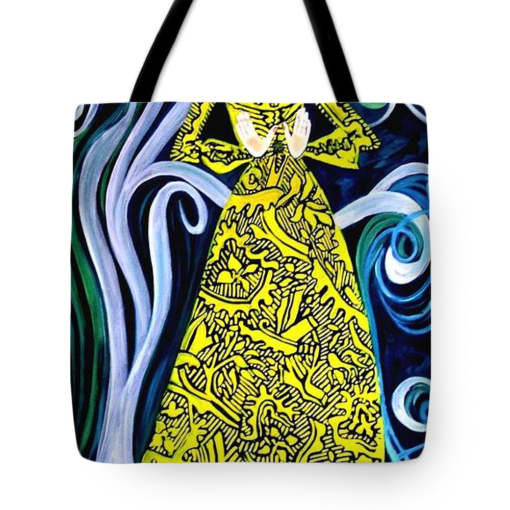 Figurative Tote Bag featuring the painting Lady Lou by Caroline Street