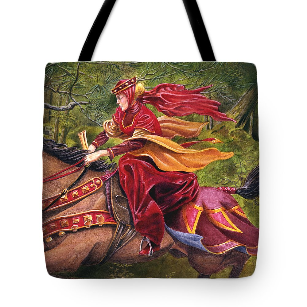 Camelot Tote Bag featuring the painting Lady Lunete by Melissa A Benson