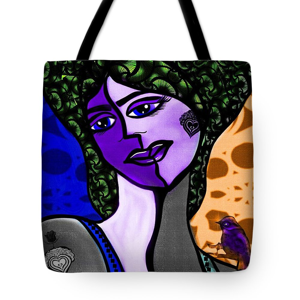 Cubist Tote Bag featuring the digital art Lady Me by Aixa Olivo