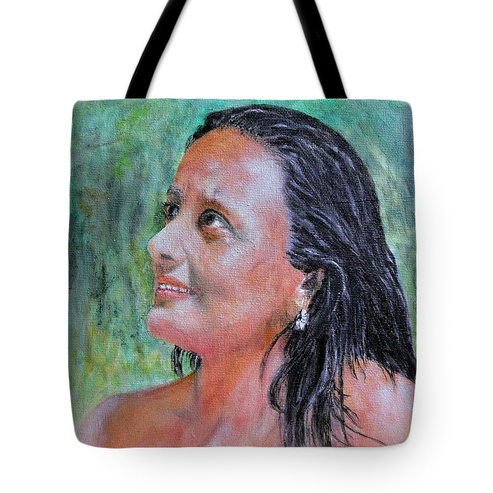 Lady Tote Bag featuring the painting Lady Of India by Helmut Rottler