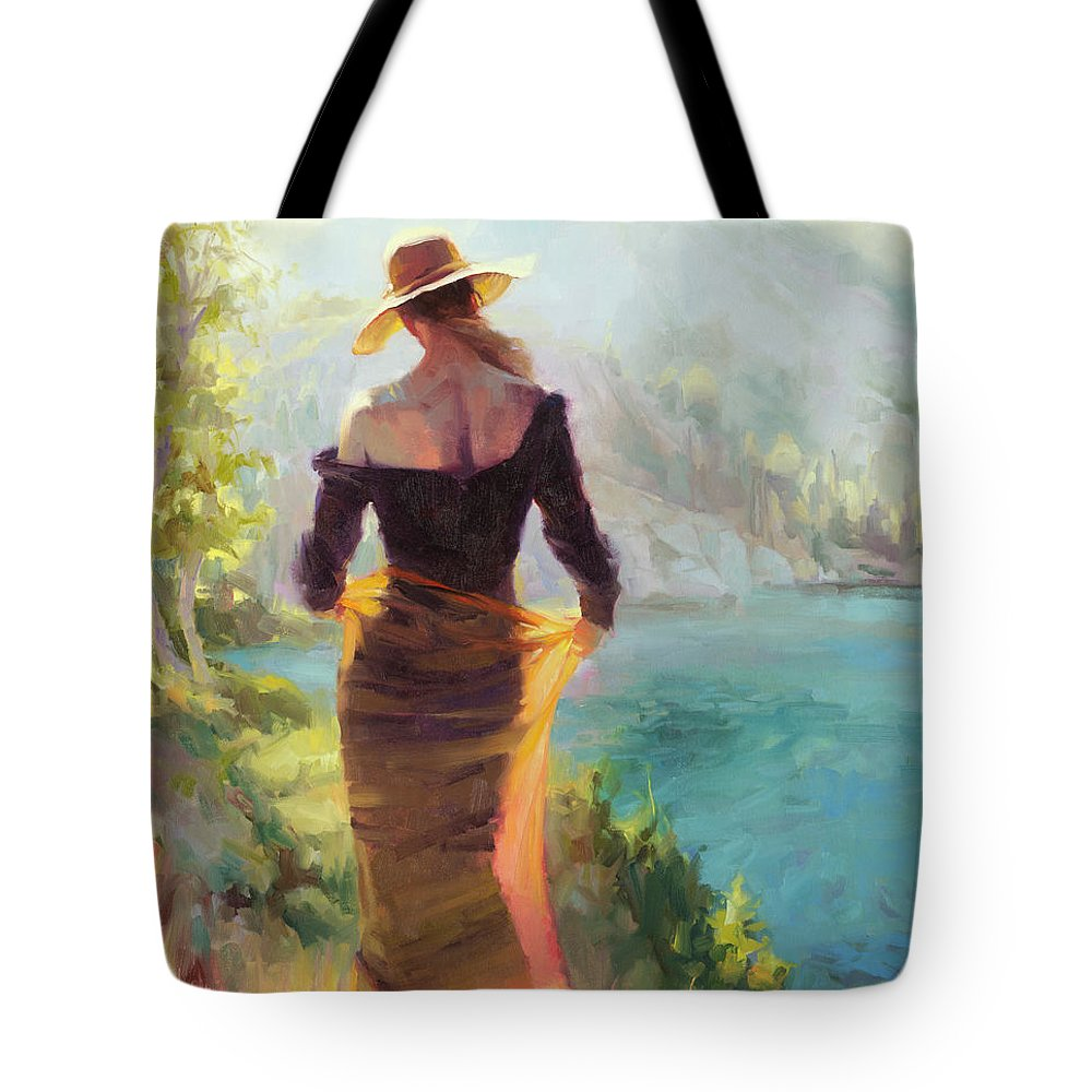 Woman Tote Bag featuring the painting Lady of the Lake by Steve Henderson