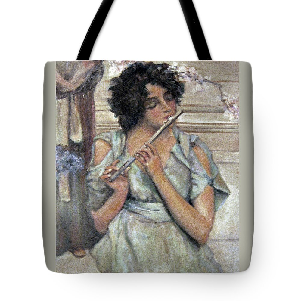 Girl Tote Bag featuring the painting Lady Playing Flute by Donna Tucker
