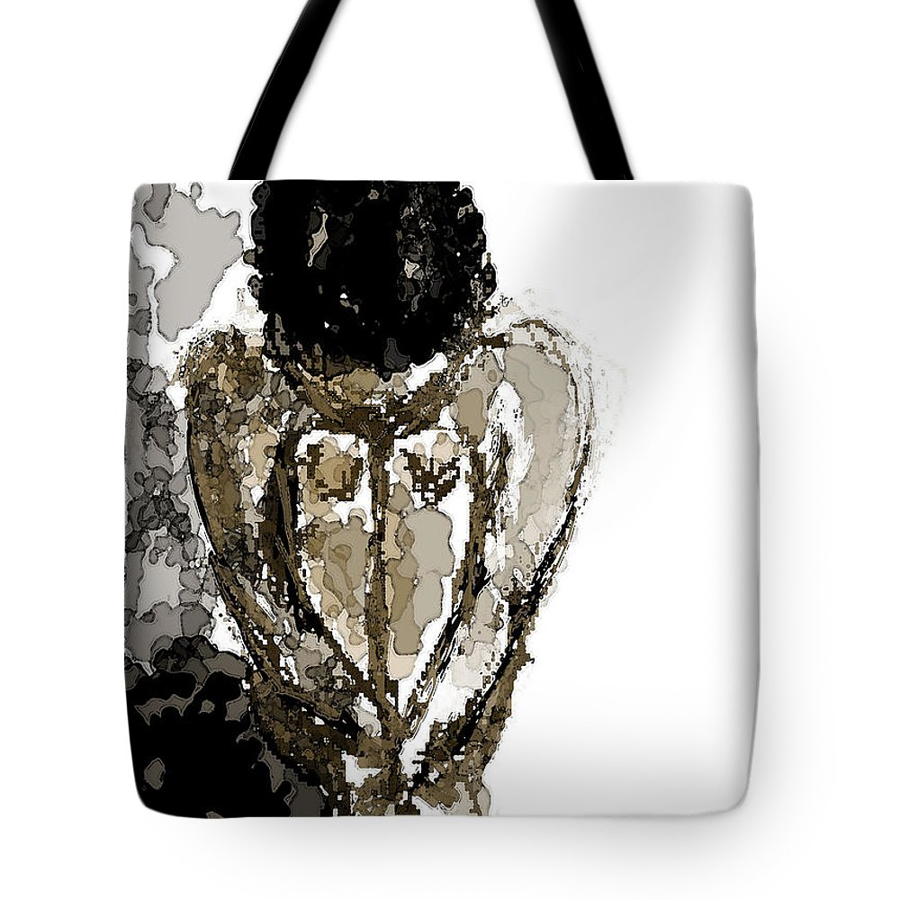 Lady Tote Bag featuring the digital art Lady Sitting by Shelley Jones