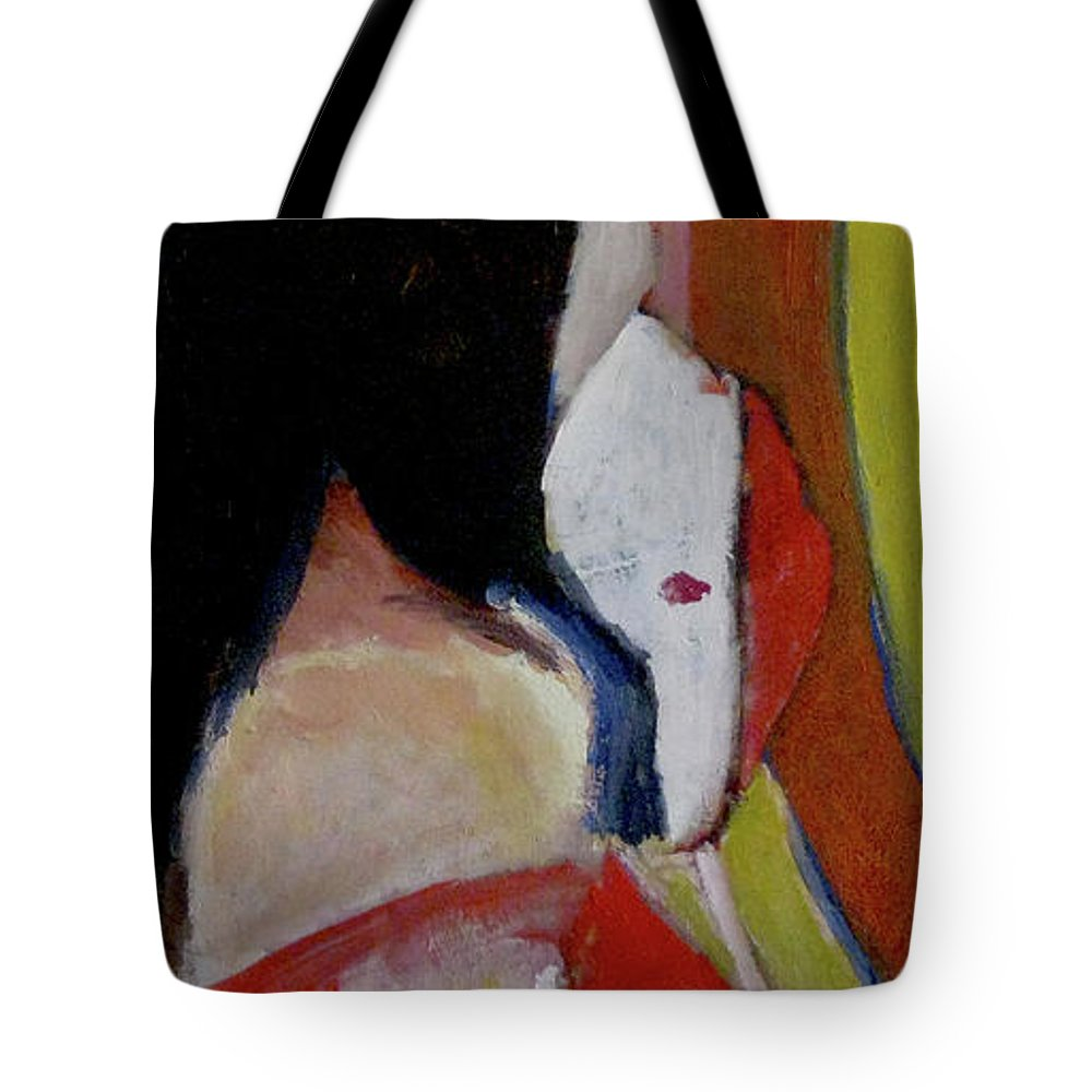Tote Bag featuring the painting Lady With A Mask by James Gallagher