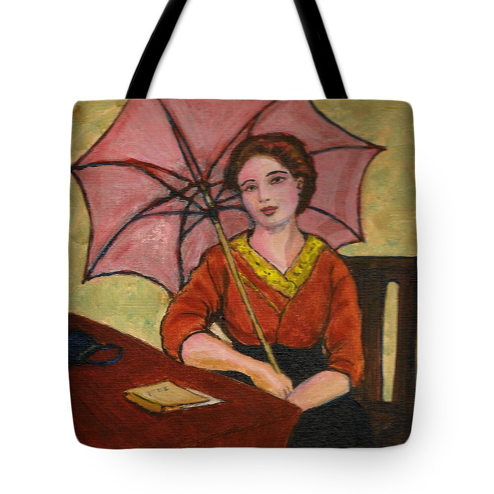 Tote Bag featuring the painting Lady With An Umbrella by Asha Sudhaker Shenoy