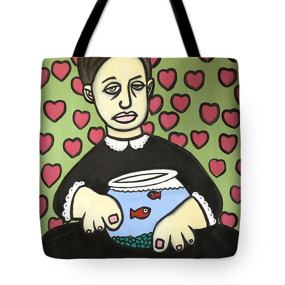 Tote Bag featuring the painting Lady With Fish Bowl by Thomas Valentine