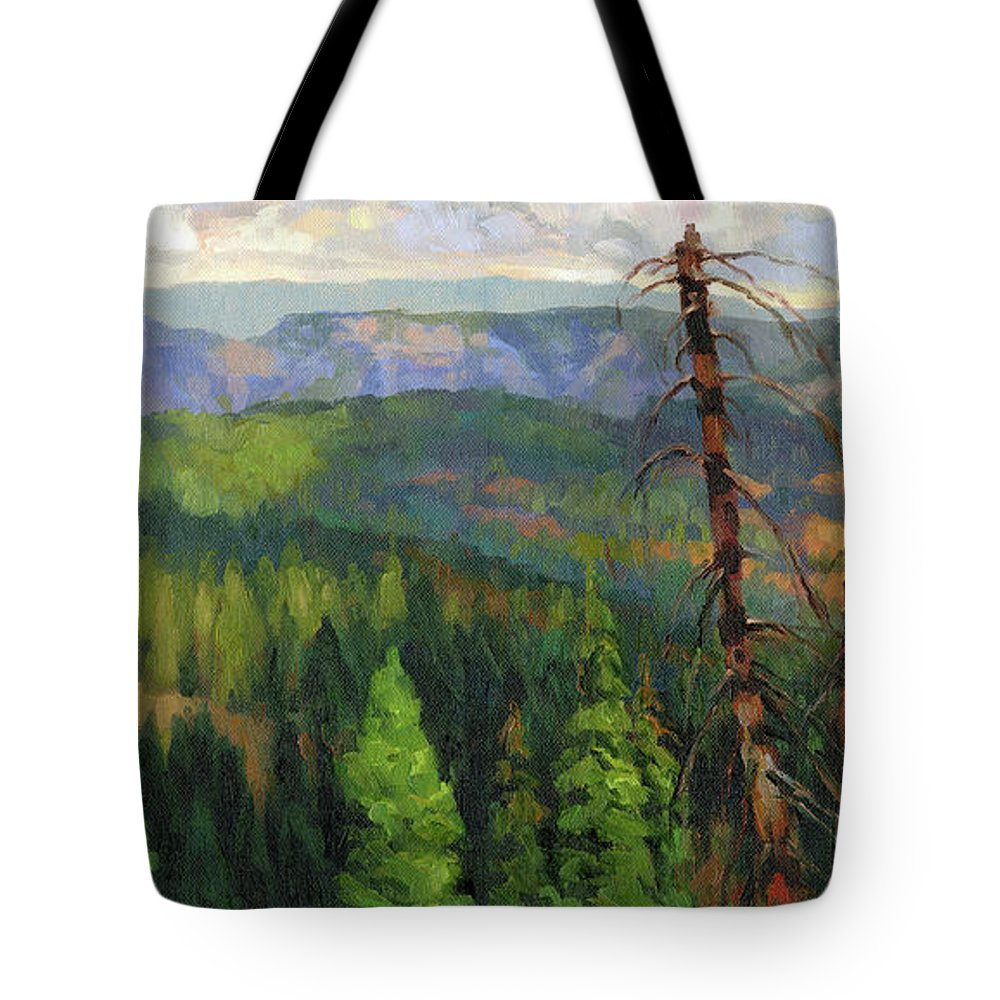 Wilderness Tote Bag featuring the painting Ladycamp by Steve Henderson